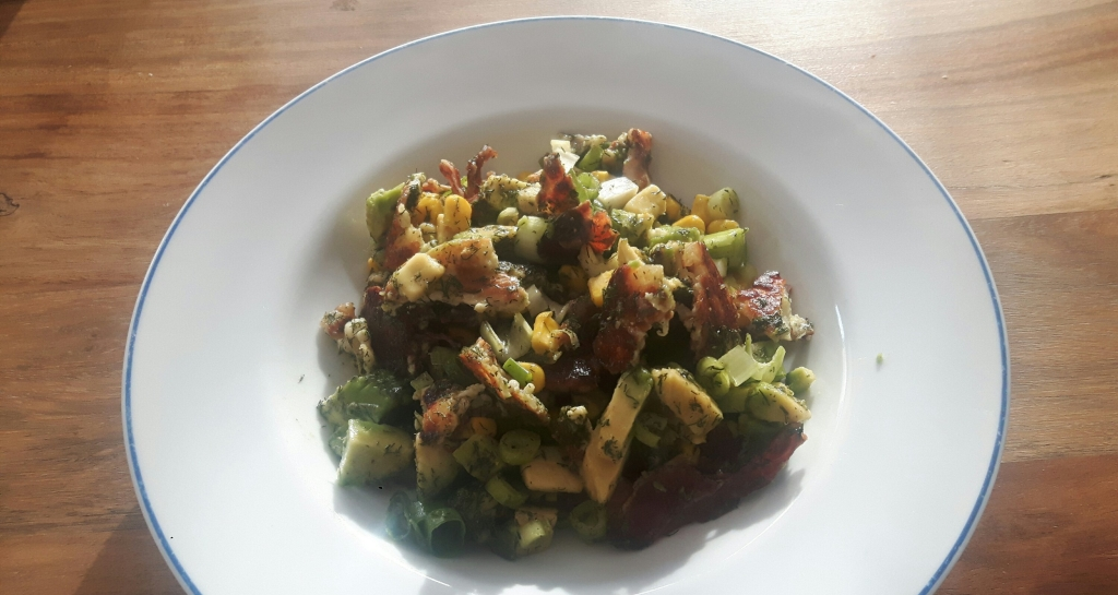 Halloumi Avocado Bacon Salad With Dill-Lemon Dressing recipe