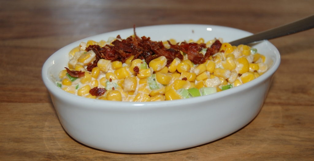 Creamy garlic corn with crumbled bacon thanksgiving recipe