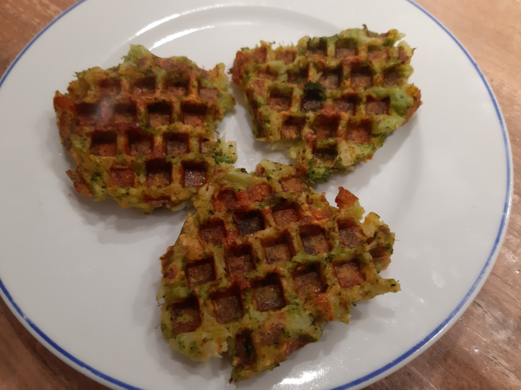 Broccoli waffles with yoghurt mustard dip recipe