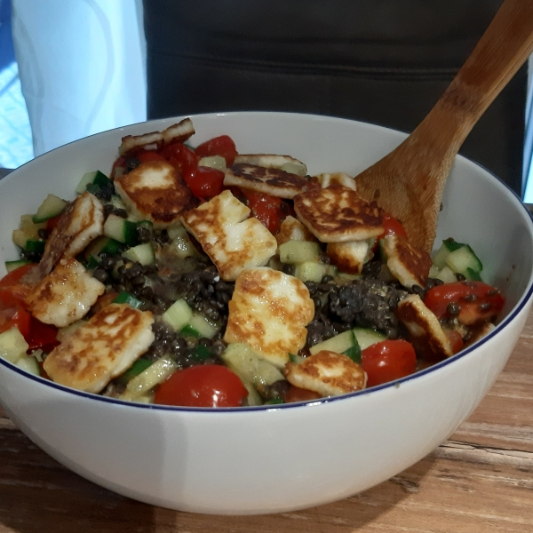 recipe for lentil halloumi salad