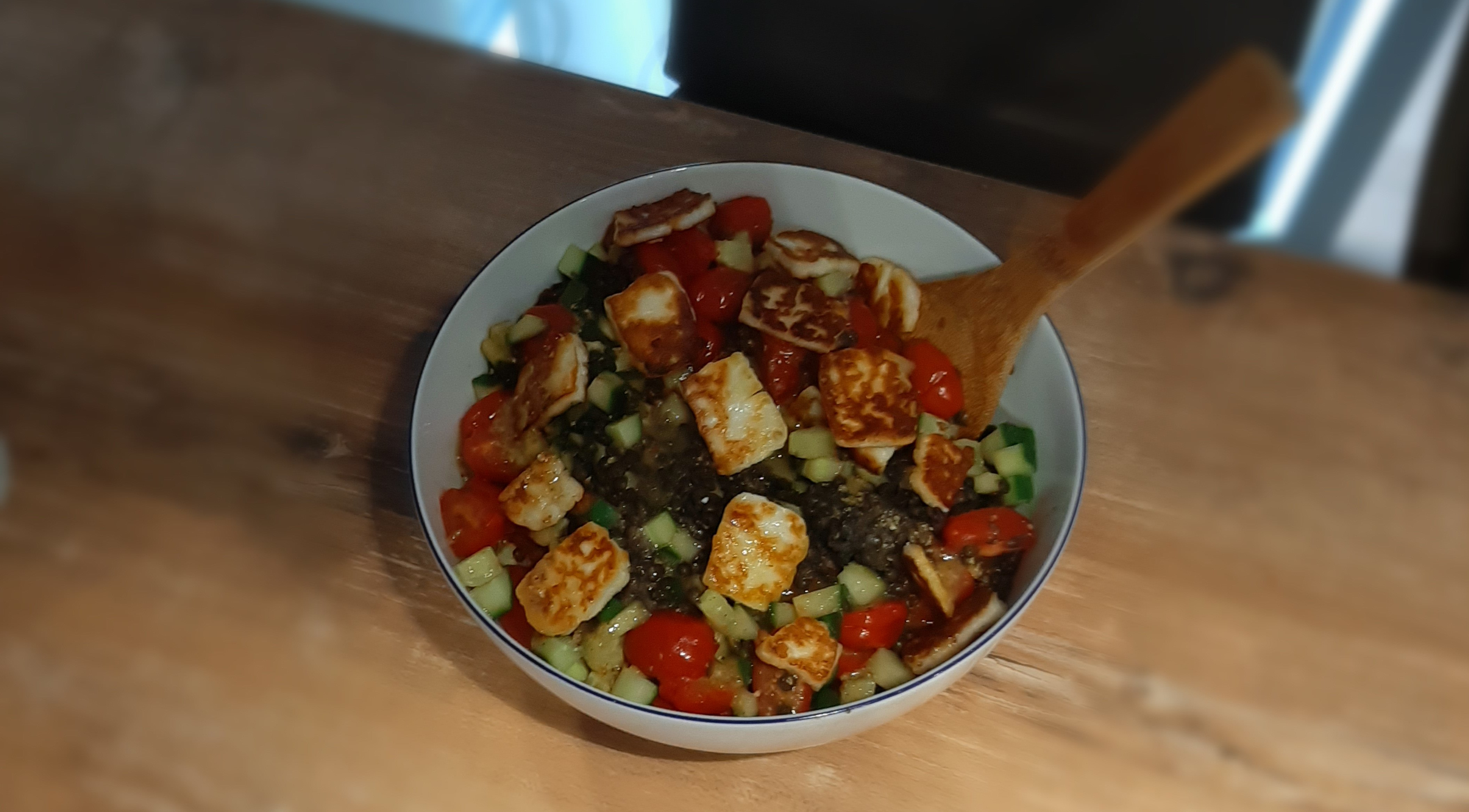 recipe for lentil halloumi salad bowl